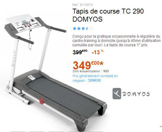 Tapis de Course Domyos tc 290 Tapis de Course tc 290